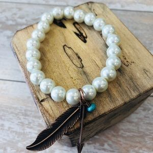 Pearl Bead Stretch Bracelet with Feather & Cross